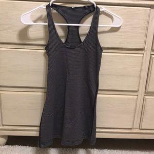 Grey and black striped lululemon tank top
